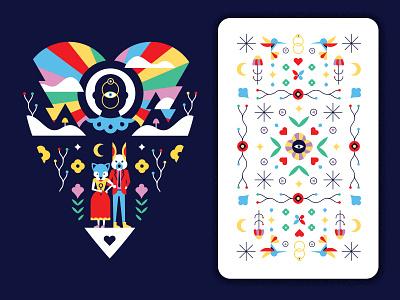 The Lovers illustration lovers tarot card design card