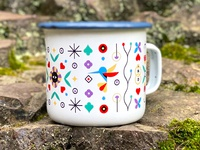 M.U.G. camp wedding branding pattern mug