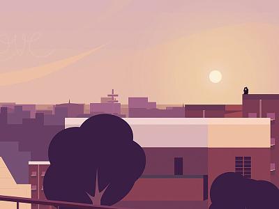 Love - Illustration india hyderabad flat sunset design illustration love