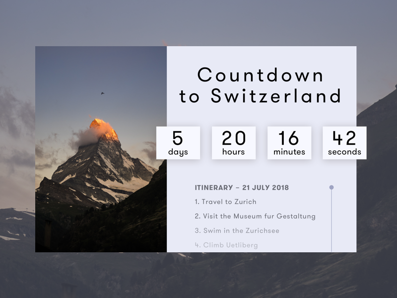 Daily UI : Countdown Timer itinerary interface ui zurich switzerland timer countdown daily ui