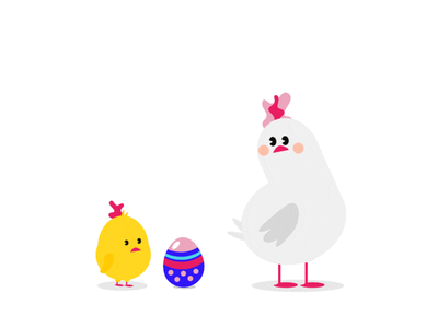 Happy Easter Everybunny! chick flat vector illustration animated egg chicken easter animation gif motion