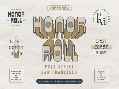 Honor Roll Classic Subs Identity logo san francisco sf classic timeless oldschool 70s branding and identity branding deli sandwiches sub shop