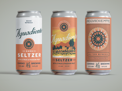 Camino Brewing Aguadiente beer can design timeless classic seltzer chill west coast packaging craftbeer beer can