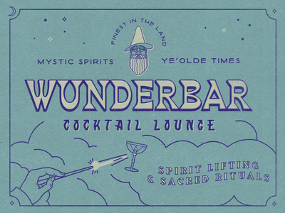 Wunderbar Cocktails spirits illustration grit texture logo identity branding bar matchbook timeless classic magic wizard cocktails