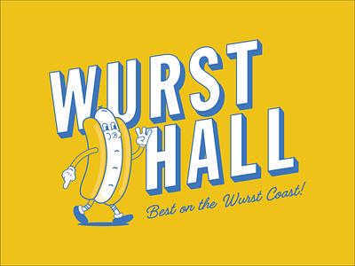 Wursthall Mascot & Logo chill vibes westcoast hotdog mascot design mascot logo design logo branding illustration mascot