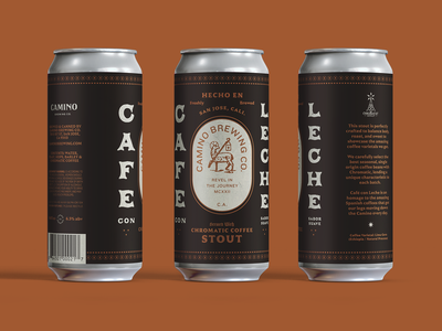 Camino Cafe Con Leche coffee print typography packaging label design can label craft beer beer