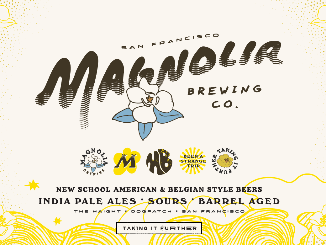 Magnolia Brewing Co. 70s 60s trippy vintage logo brand identityl beer brewery craft