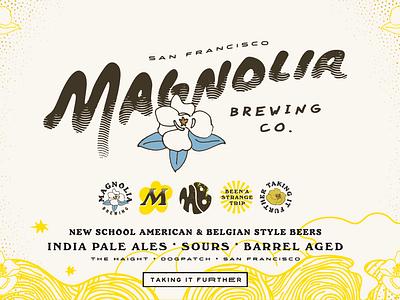 Magnolia Brewing Co. 70s 60s trippy vintage logo brand identityl beer brewery craft