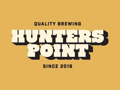 Hunters Point Brewing Logo logo logotype dropshadow slab bold type 70s industrial beer san francisc craft beer