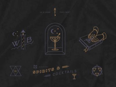 Secret Cocktail Bar Illustration Set