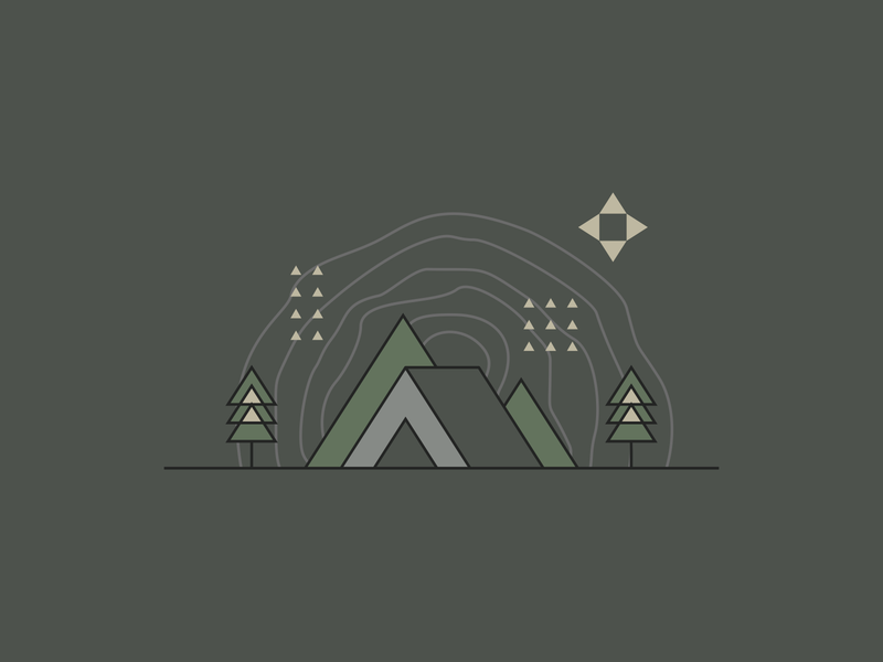 Camping Locations Illustration woods outdoorsy tent hiking nature overlapping line art lineart tree rings trees locations agrib green geometric illustration triangular triangles illustration outdoor camping north of north