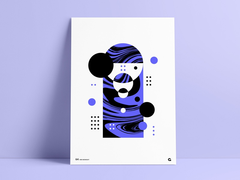 Liquid Midnight Poster geometrical geometric series poster a day poster art dots black purple container circles shapes liquid fill wall art negative space negativespace print poster liquid abstract agrib