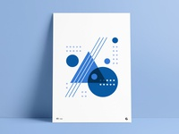 Blue Shades Geometric Poster