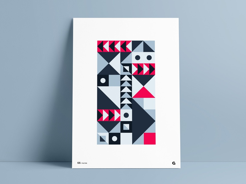 Geometric Red and Blue Blocks red and blue poster designer poster a day poster challenge poster series wall art rectangular rectangle squares triangles triangular stacking blocks geometry abstract poster design print poster shapes geometric