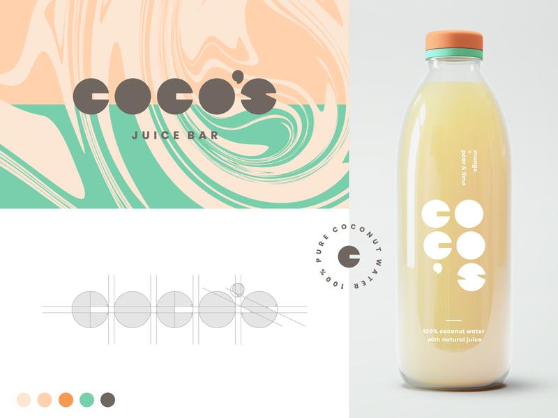 Coco's Brand Exploration bottle packaging branding concept orange green custom wordmark coco coconut juice bar badge texture liquid juice agrib logodesign logo visual identity exploration brand design branding