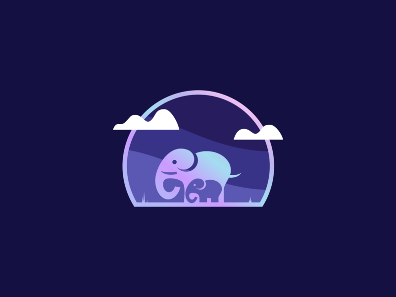 Sticker Mule Holographic Mother & Baby Elephant