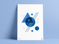 Blue Shades Geometric Poster Part II