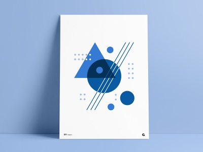 Blue Shades Geometric Poster Part II overlapping overlay custom print abstraction shades of blue clean simple dots print designer complimentary design wall art negative space circles triangles circular shapes poster series print design poster geometric abstract agrib