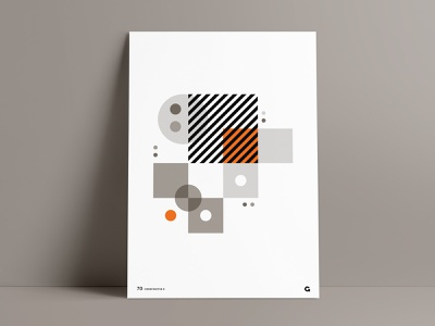 Orange Splash Geometric Poster II custom rebound complimentary dots shapes circles squares overlapping circular orange wall art print series agrib poster designer geometric poster abstract geometric design geometric art geometric