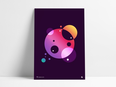 Circular Gradient Geometric Poster bright colors colorful dark purple poster spheres wall art print agrib negative space overlapping overlay circular shapes filters poster design abstract gradients gradient design geometric