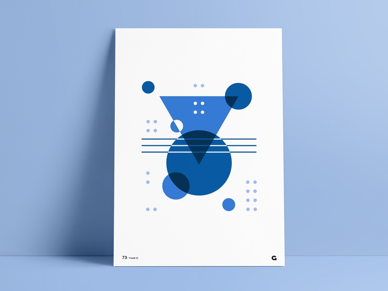 Blue Shades Geometric Poster Part III poster challenge wall art simple design triangles circular circles transparency overlapping geometrical shapes shape elements abstract art agrib print poster design geometrical geometric negativespace negative-space blue and white blues