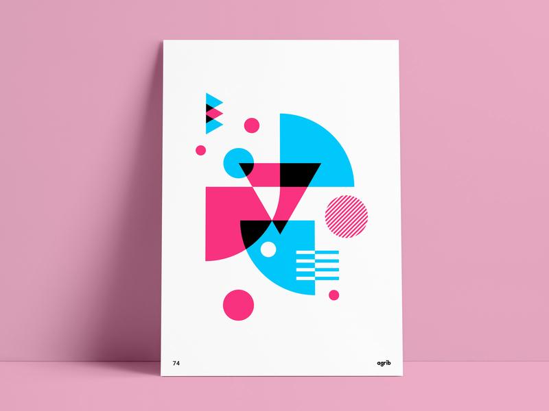 Retro bright colors throwback abstract poster geometric poster shapes retro design retro print retro poster 90s 80s vintage negative space overlapping poster design abstract geometric agrib blue pink retro