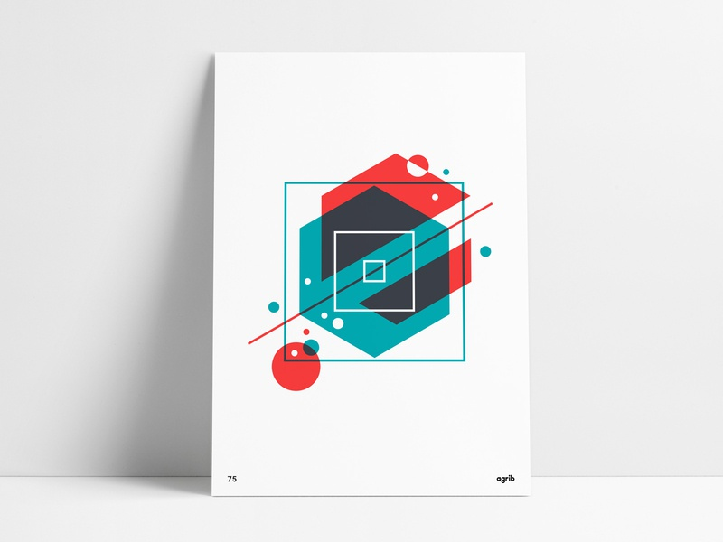 Geometric Overlay Poster poster designer wall art poster vector design abstract art abstraction poster series agrib bright color vibrant colors geometric shapes circles square overlays geometric print geometric art geometric design abstract design