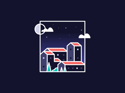 Nighttime Town Illustration line art colorful homes apartments living crop night sky sky agrib landscape illustration landscape design buildings city village township town gradient illustration night nighttime illustration