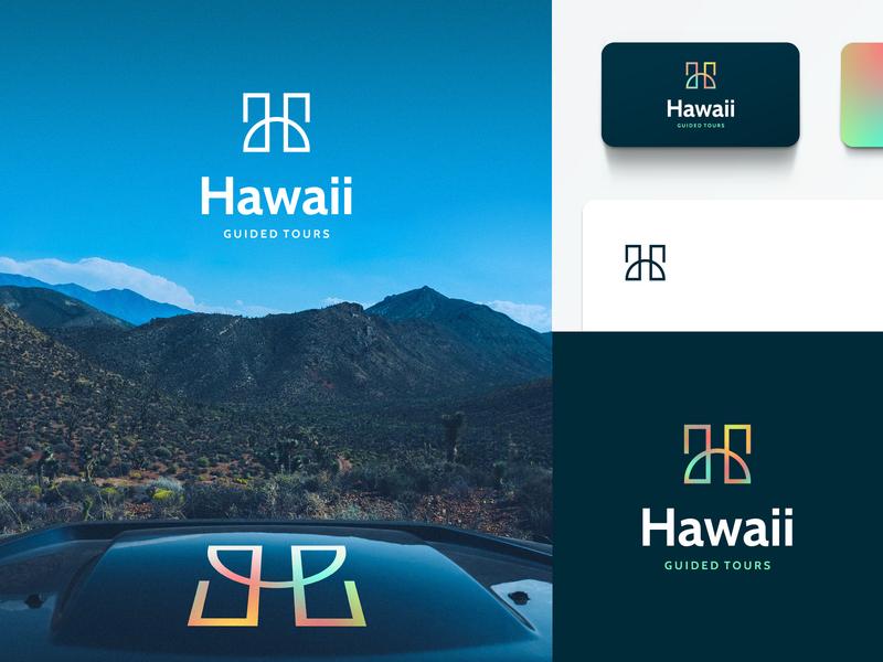 Hawaii Guided Tours Branding letter h typography lettermark startup logo startup branding startup business design tourism tour gradient mesh logo tropical hawaii agrib brand designer identity design brand design branding logo design