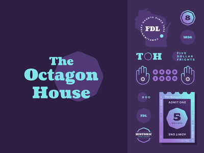 Octagon House Branding illustration logo agrib gradient ticket wisconsin branding and identity identity lockups purple haunting haunted house spooky geometric branding logo design attraction tourism octagon
