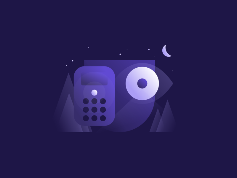 Home Security Illustration pt III icon design transparency property illustration set gradient illustration watching eye protect agrib moonlight nighttime night night illustration shield protection alarm alarm system surveillance security