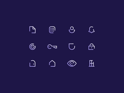 Home Security Micro Icon Set clean simple branding gradient line icons illustrations agrib safety safe protection keypad key security icons home gradient icons line art custom icons icon set micro micro set
