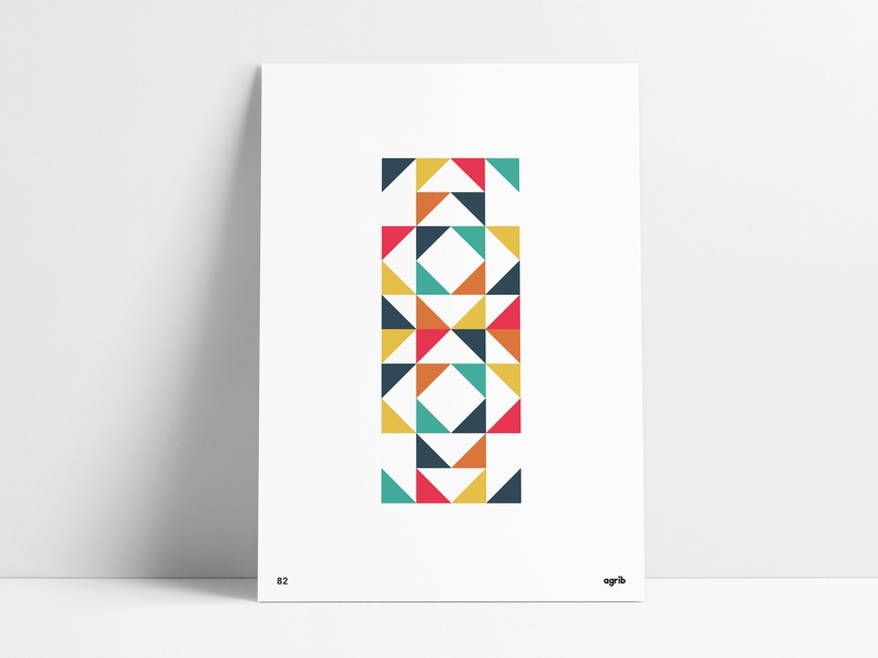 Negative Space Geometric Poster custom wall art colorful diamonds squares triangular abstract geometric abstract art shapes negative space design triangles agrib geometric design work space poster designer poster designs office print negative space geometric poster geometric print
