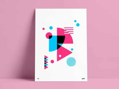 Abstract Geometric Pink Throwback Poster retro design poster print poster art poster collection custom poster wall art overlay blue pink agrib throwback vintage geometric abstract print design prints poster series poster set retro