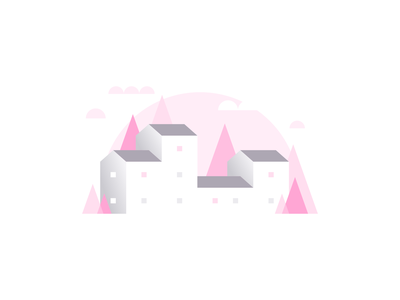 Pink Building Illustration row abstract city trees town homes agrib architecture apartments residential shades of pink pink design vector illustration grayscale greyscale pink illustration buildings illustration negative space landscape design