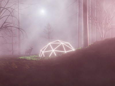 Curiosity blender3d agrib foggy fog trees glow glowing deer forest futuristic sci-fi scifi rendering render illustration curiosity curious blender3dart blender 3d blender