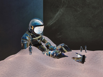 Unearth render found surreal art astronauts outerspace outer space spaceman discovered sci-fi scifi blender 3d blender3d blender agrib crypto art cryptoart nftart 3d art 3d artist astronaut