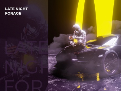 Late Night Forage automobile car space man cheeseburger eating burger fast food crypto art crypto nft agrib eevee rendering render outer space astronaut hen hic et nunc blender3d blender