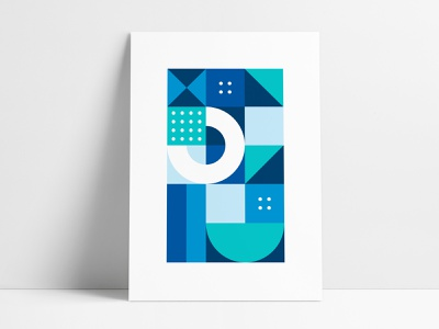 Jewelers Mutual Abstract Geometric Poster 4 branded collateral custom series poster set negative space rectangular rectangle square interior shapes poster geometric art geometrical poster designer print poster shapes agrib poster design abstract geometric