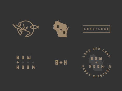 Bow + Hook Additional Marks bow deer fish fishing hook hunting line logo outdoors branding badge wisconsin