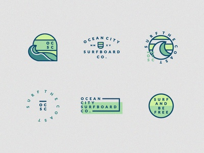 Ocean City Surf Marks and Badges lockup seal water wave branding ocean city ocean badges marks surfboard surf