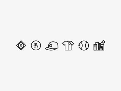 Baseball Iconography uniform logo diamond jersey cap hat hardball sports icon set iconography icons baseball