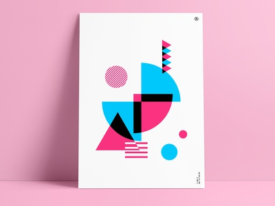 Going Retro 80s pink blue color art print shapes geometric vintage poster abstract retro