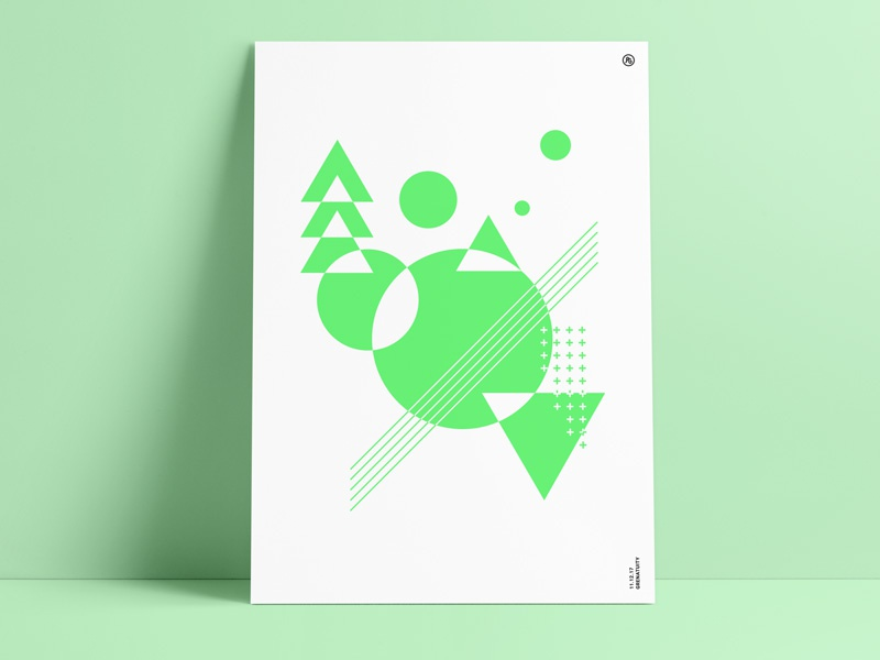 Green Abstract Poster abstract art green color geometric poster print retro shapes vintage triangle circle