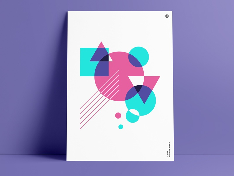 Retro Poster vintage shape print 80s 90s poster retro geometric triangle circle art abstract