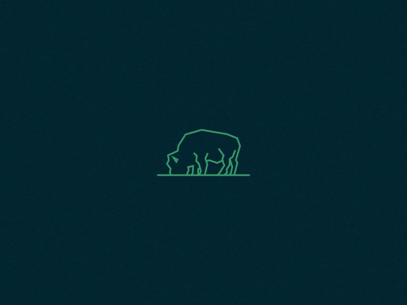 Buffalo buffalo bison grazing graze line line art icon logo mark restaurant green logomark