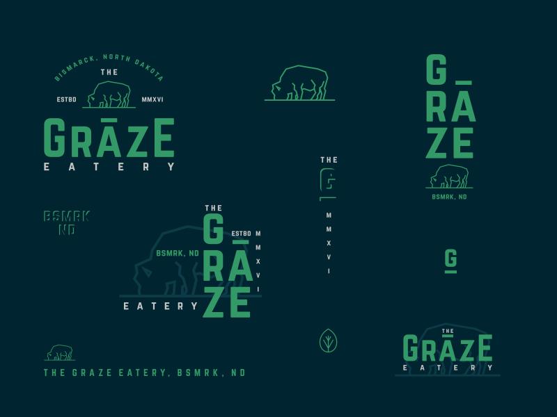 Graze Marks II graze logo identity typography type marks seal bison buffalo restaurant branding badge