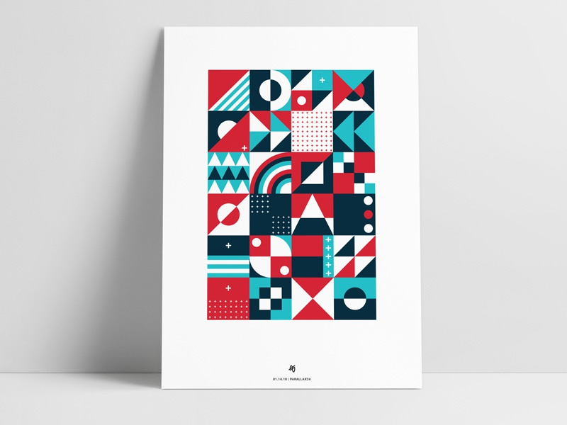 Abstract Squares Poster circle triangle print color retro shape illustration geometric square poster art abstract