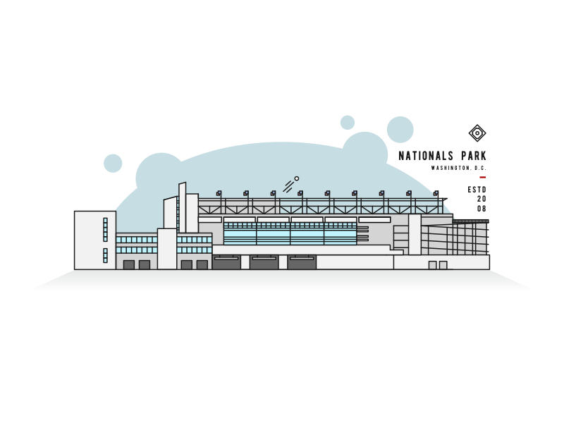 Nationals Park Line Art stadium mlb nats dc washington line park nationals illustration icon baseball ballpark