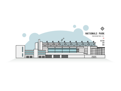 Nationals Park Line Art stadium mlb nats dc washington line park nationals illustration icon baseball ballpark